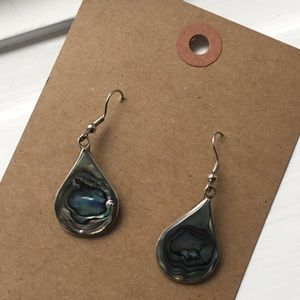 Vintage abalone shell silver tone drop earrings